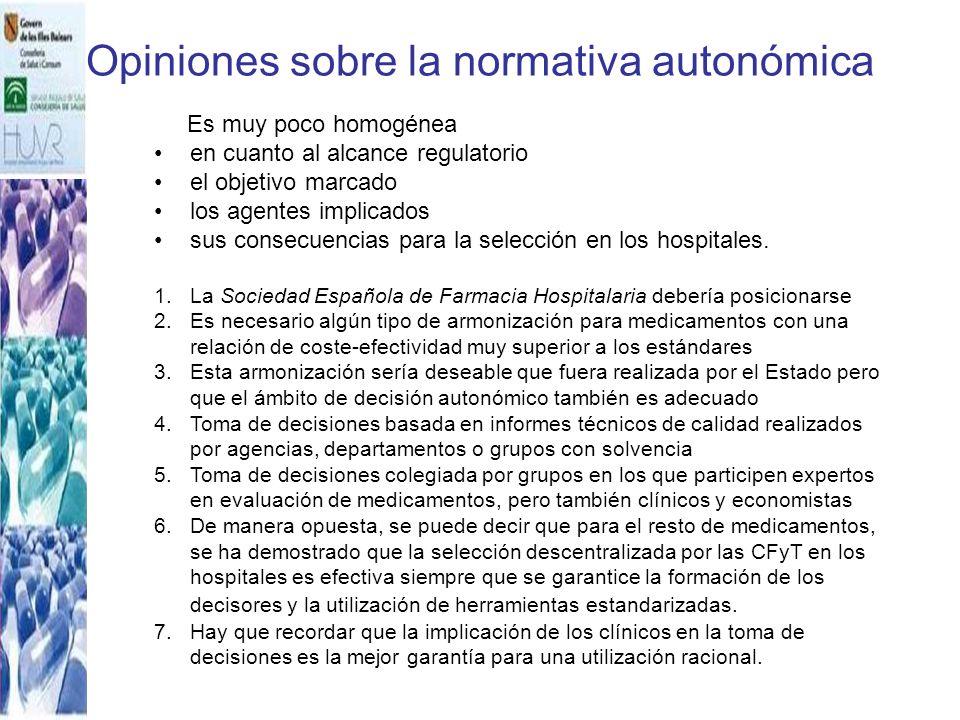 Opiniones sobre la normativa autonómica Es muy poco homogénea en cuanto al alcance regulatorio el objetivo marcado los agentes implicados sus consecue