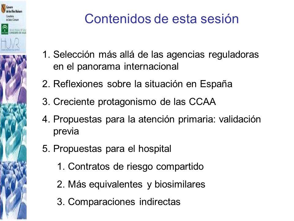 Contenidos de esta sesión 1.Selección más allá de las agencias reguladoras en el panorama internacional 2.Reflexiones sobre la situación en España 3.C