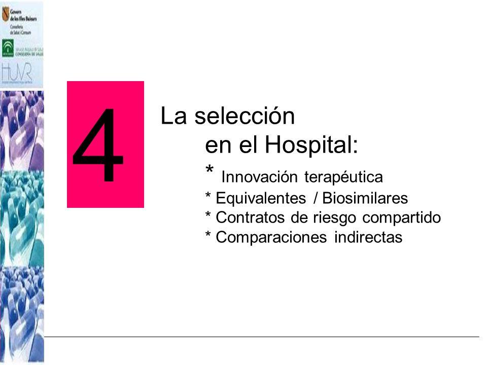 La selección en el Hospital: * Innovación terapéutica * Equivalentes / Biosimilares * Contratos de riesgo compartido * Comparaciones indirectas 4