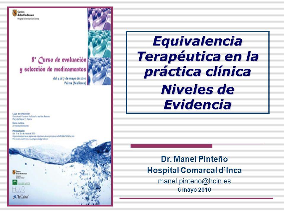 Dr. Manel Pinteño Hospital Comarcal dInca manel.pinteno@hcin.es 6 mayo 2010 Equivalencia Terapéutica en la práctica clínica Niveles de Evidencia