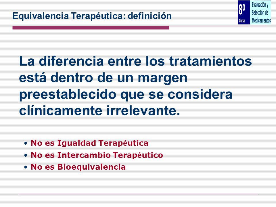 La diferencia entre los tratamientos está dentro de un margen preestablecido que se considera clínicamente irrelevante. No es Igualdad Terap é utica N