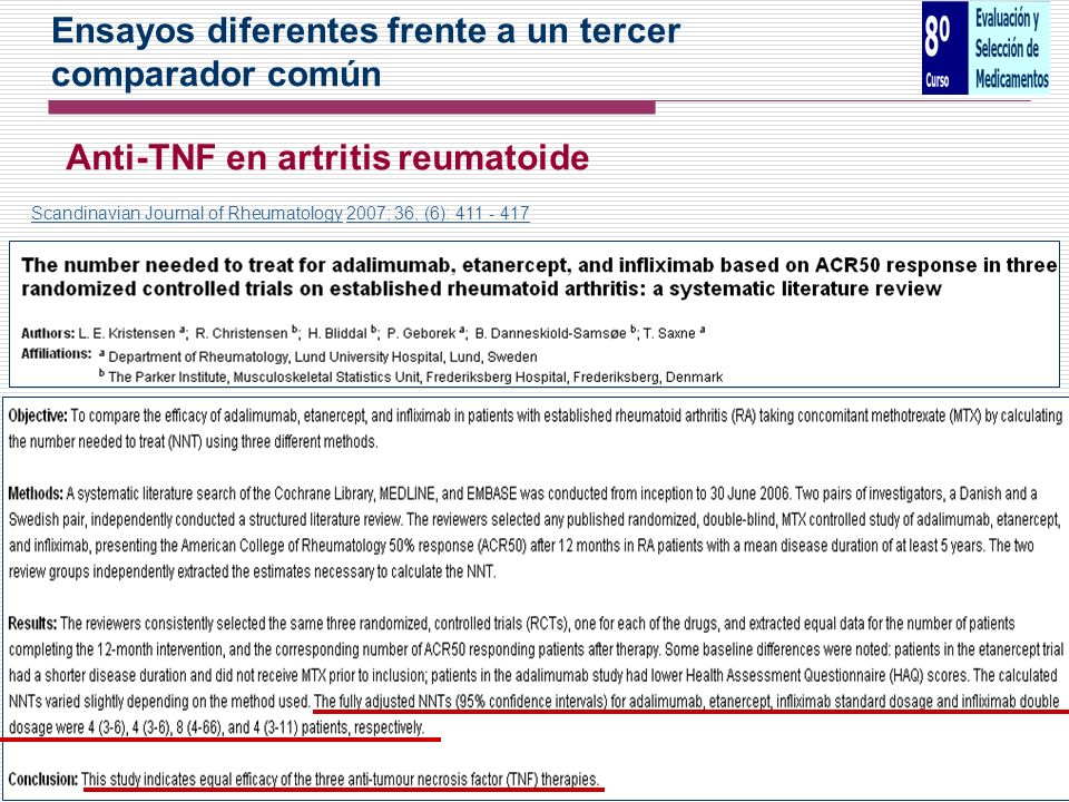 Ensayos diferentes frente a un tercer comparador común Anti-TNF en artritis reumatoide Scandinavian Journal of RheumatologyScandinavian Journal of Rhe