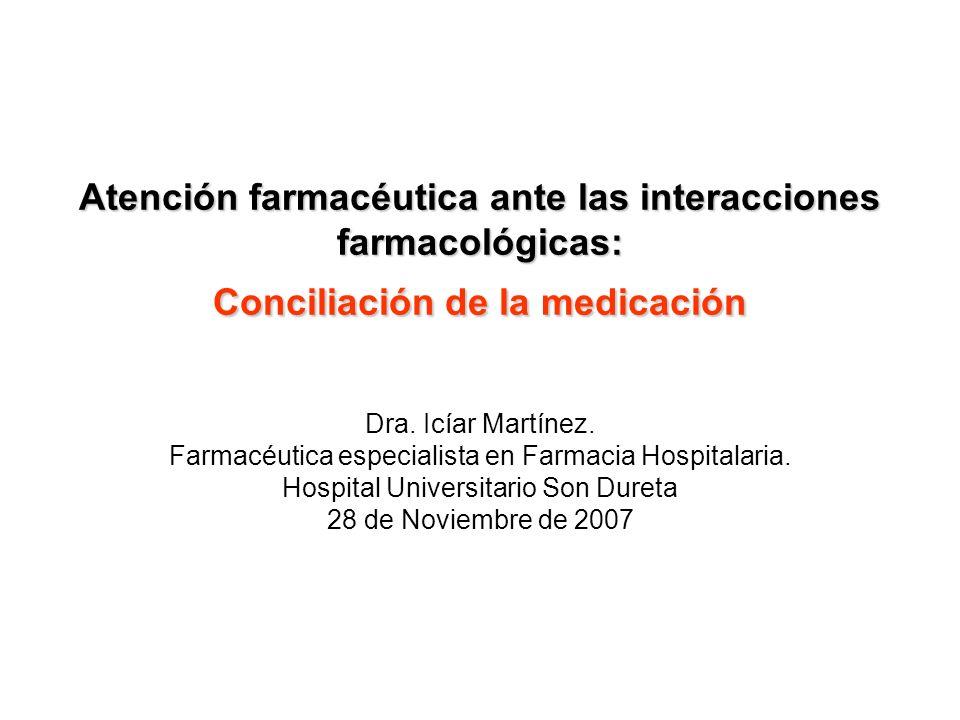 Atención farmacéutica ante las interacciones farmacológicas: Conciliación de la medicación Dra. Icíar Martínez. Farmacéutica especialista en Farmacia