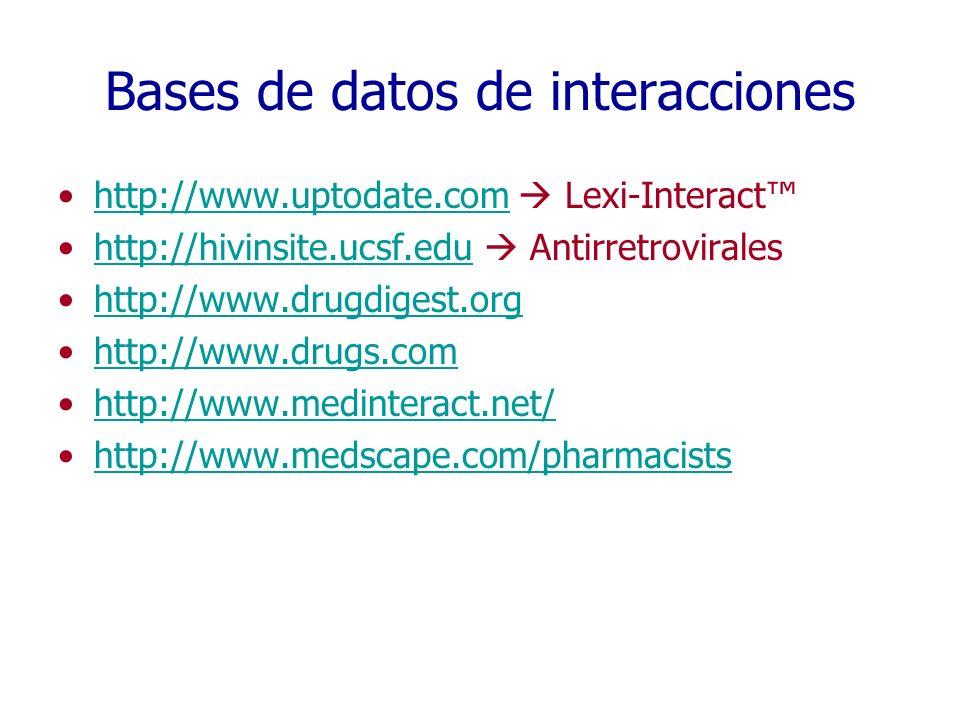 Bases de datos de interacciones http://www.uptodate.com Lexi-Interacthttp://www.uptodate.com http://hivinsite.ucsf.edu Antirretroviraleshttp://hivinsi