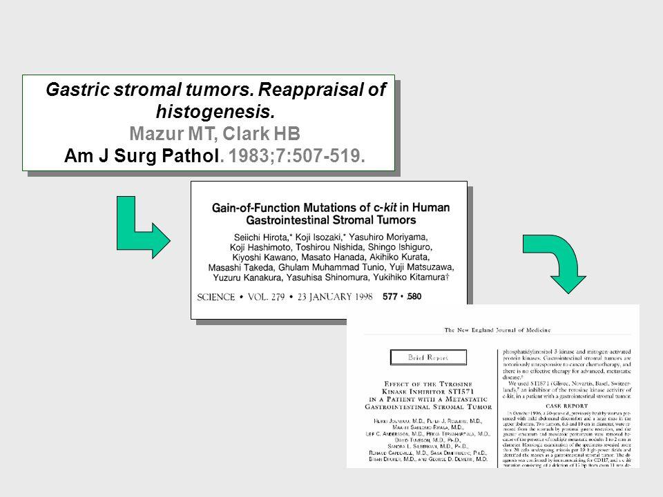Tipo de sarcoma infrecuente 1 % de los tumores gastrointestinales (GI) Neoplasia mesenquimal más frecuente del tracto GI Incidencia: 0.6-1.5/100.000 h/año Relación hombre : mujer = 1:1 Máxima incidencia: 4ª a 6ª década La definición de GIST ha evolucionando hacia una entidad clínica e histopatológica distinta 60% 30% 10% Tumores del Estroma Gastrointestinal (GIST)