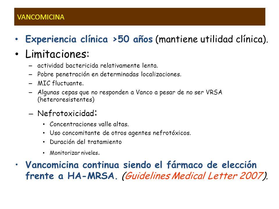 VANCOMICINA Experiencia clínica >50 años (mantiene utilidad clínica). Limitaciones: – actividad bactericida relativamente lenta. – Pobre penetración e