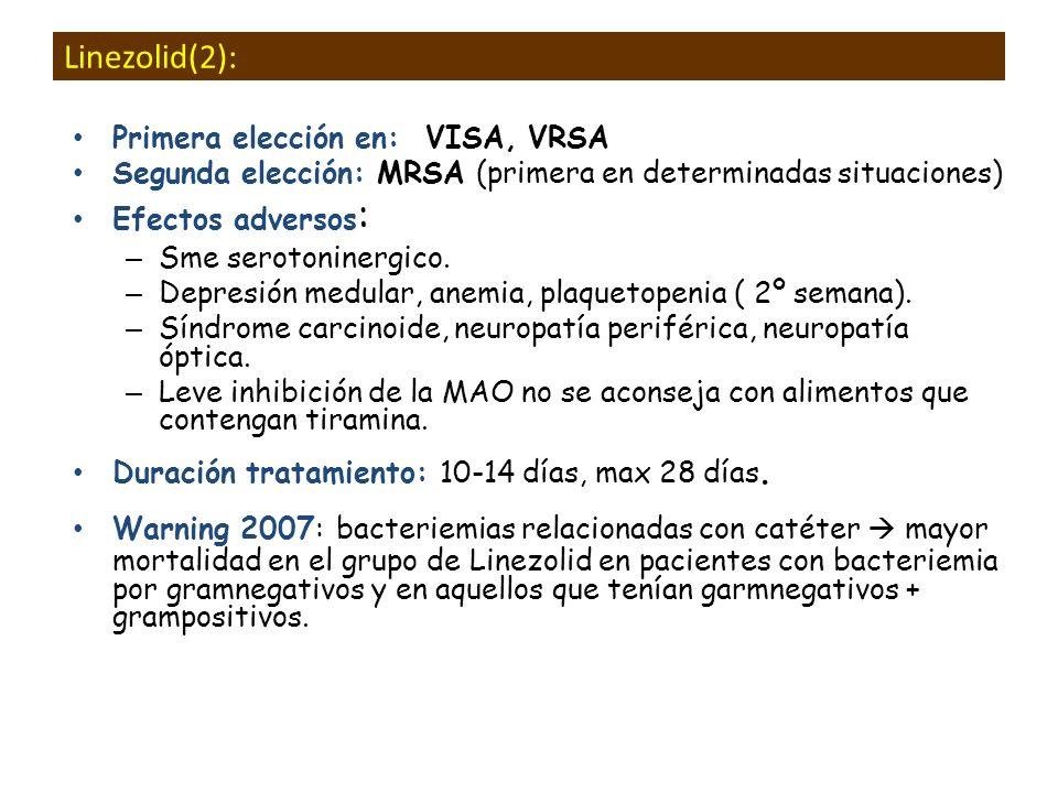 Linezolid(2): Primera elección en: VISA, VRSA Segunda elección: MRSA (primera en determinadas situaciones) Efectos adversos : – Sme serotoninergico. –