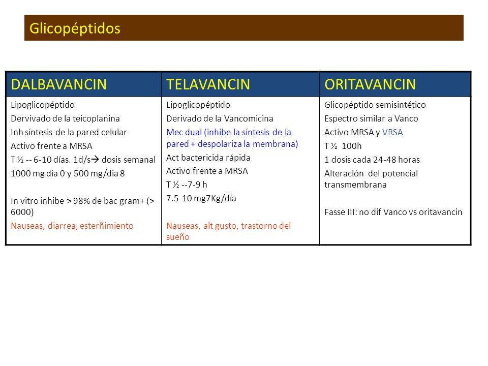 Glicopéptidos DALBAVANCINTELAVANCINORITAVANCIN Lipoglicopéptido Dervivado de la teicoplanina Inh síntesis de la pared celular Activo frente a MRSA T ½