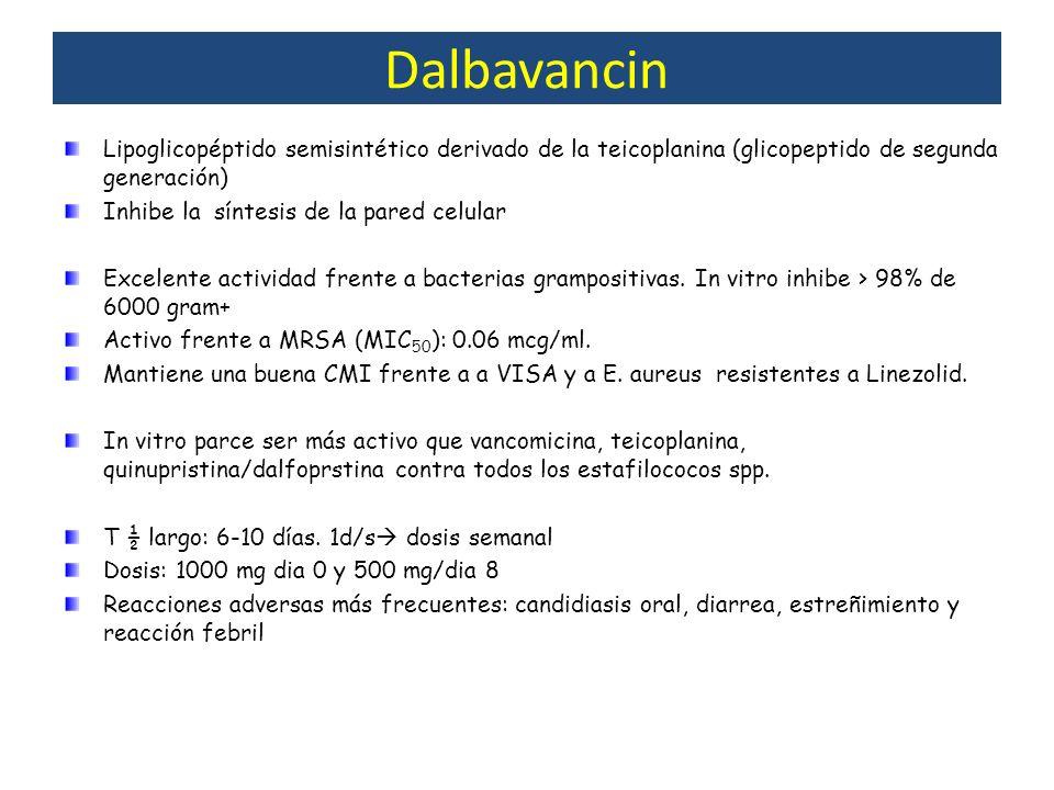 Dalbavancin Lipoglicopéptido semisintético derivado de la teicoplanina (glicopeptido de segunda generación) Inhibe la síntesis de la pared celular Exc
