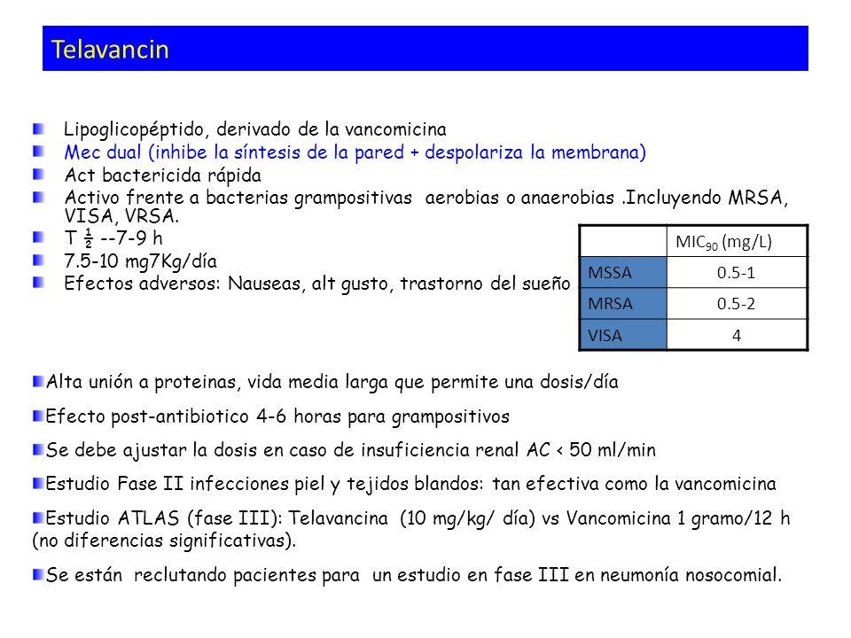 Telavancin Lipoglicopéptido, derivado de la vancomicina Mec dual (inhibe la síntesis de la pared + despolariza la membrana) Act bactericida rápida Act