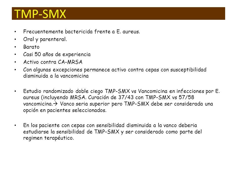 TMP-SMX Frecuentemente bactericida frente a E. aureus. Oral y parenteral. Barato Casi 50 años de experiencia Activo contra CA-MRSA Con algunas excepci