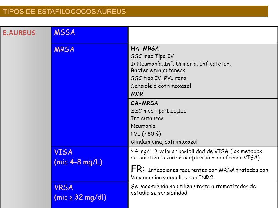 E.AUREUS MSSA MRSA HA-MRSA SSC mec Tipo IV I: Neumonía, Inf. Urinaria, Inf cateter, Bacteriemia,cutáneas SSC tipo IV, PVL raro Sensible a cotrimoxazol