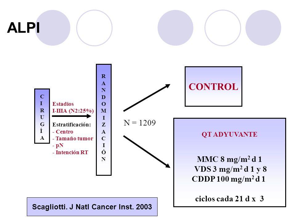 ALPI RANDOMIZACIÓNRANDOMIZACIÓN CONTROL QT ADYUVANTE MMC 8 mg/m 2 d 1 VDS 3 mg/m 2 d 1 y 8 CDDP 100 mg/m 2 d 1 ciclos cada 21 d x 3 CIRUGÍACIRUGÍA Estadios I-IIIA (N2:25%) Estratificación: - Centro - Tamaño tumor - pN - Intención RT N = 1209