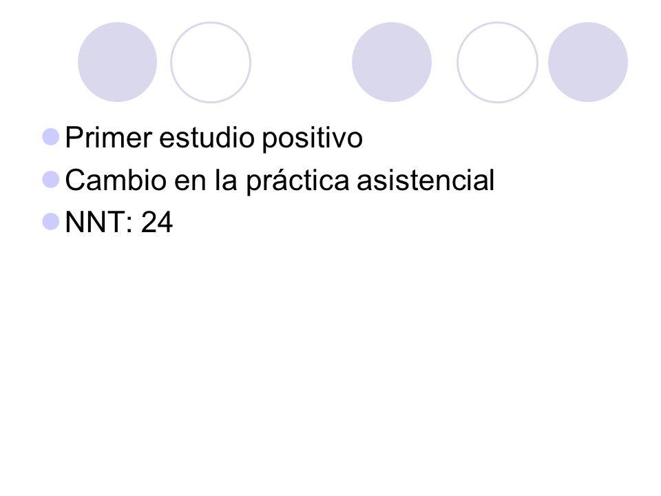 Primer estudio positivo Cambio en la práctica asistencial NNT: 24