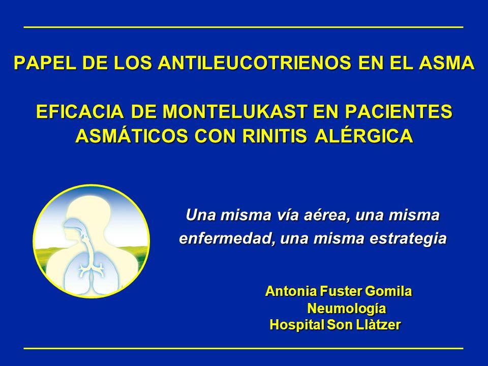 La rinitis alérgica y el asma tienen la misma fisiopatología RESUMEN La rinitis alérgica y el asma comparten características fisiopatológicas: –Vínculos anatomopatológicos y clínicos –Desencadenantes comunes –Cascada inflamatoria similar tras la exposición al alergeno –Infiltración por las mismas células inflamatorias (ej: eosinófilos) –Los cisteinil leucotrienos son mediadores comunes en las vías aéreas superiores e inferiores National Institutes of Health Global Initiative for Asthma