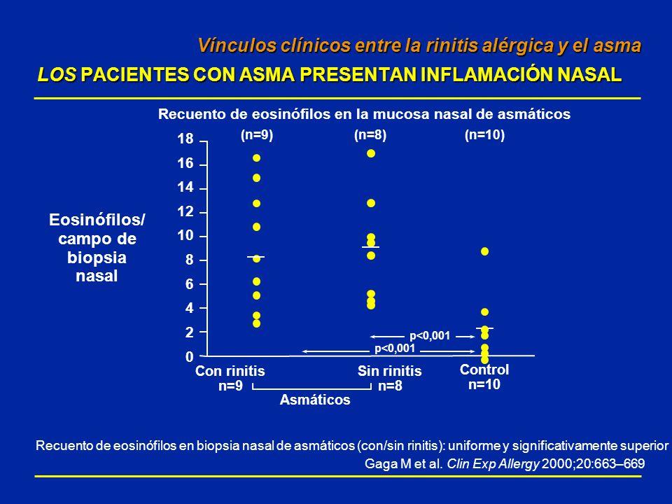 Vínculos clínicos entre la rinitis alérgica y el asma LOS PACIENTES CON ASMA PRESENTAN INFLAMACIÓN NASAL Vínculos clínicos entre la rinitis alérgica y
