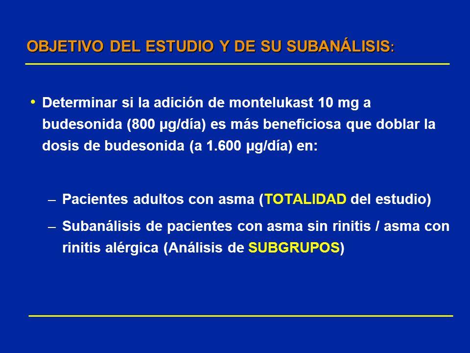 OBJETIVO DEL ESTUDIO Y DE SU SUBANÁLISIS : Determinar si la adición de montelukast 10 mg a budesonida (800 µg/día) es más beneficiosa que doblar la do
