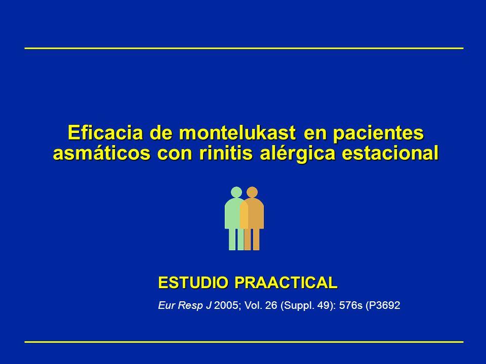 Eficacia de montelukast en pacientes asmáticos con rinitis alérgica estacional ESTUDIO PRAACTICAL Eur Resp J 2005; Vol. 26 (Suppl. 49): 576s (P3692