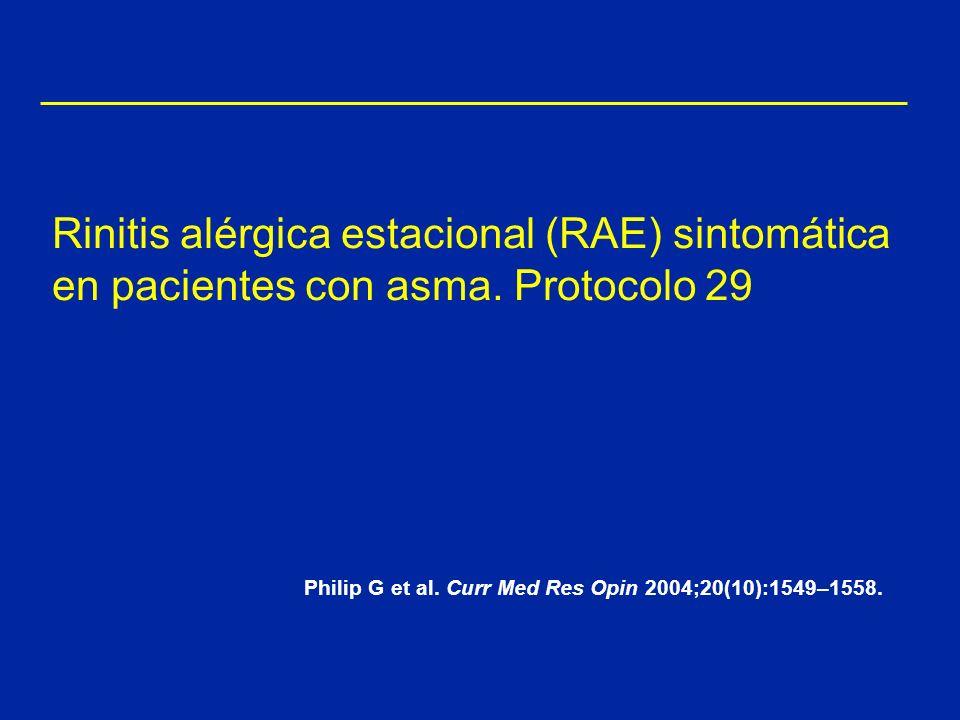 Rinitis alérgica estacional (RAE) sintomática en pacientes con asma. Protocolo 29 Philip G et al. Curr Med Res Opin 2004;20(10):1549–1558.
