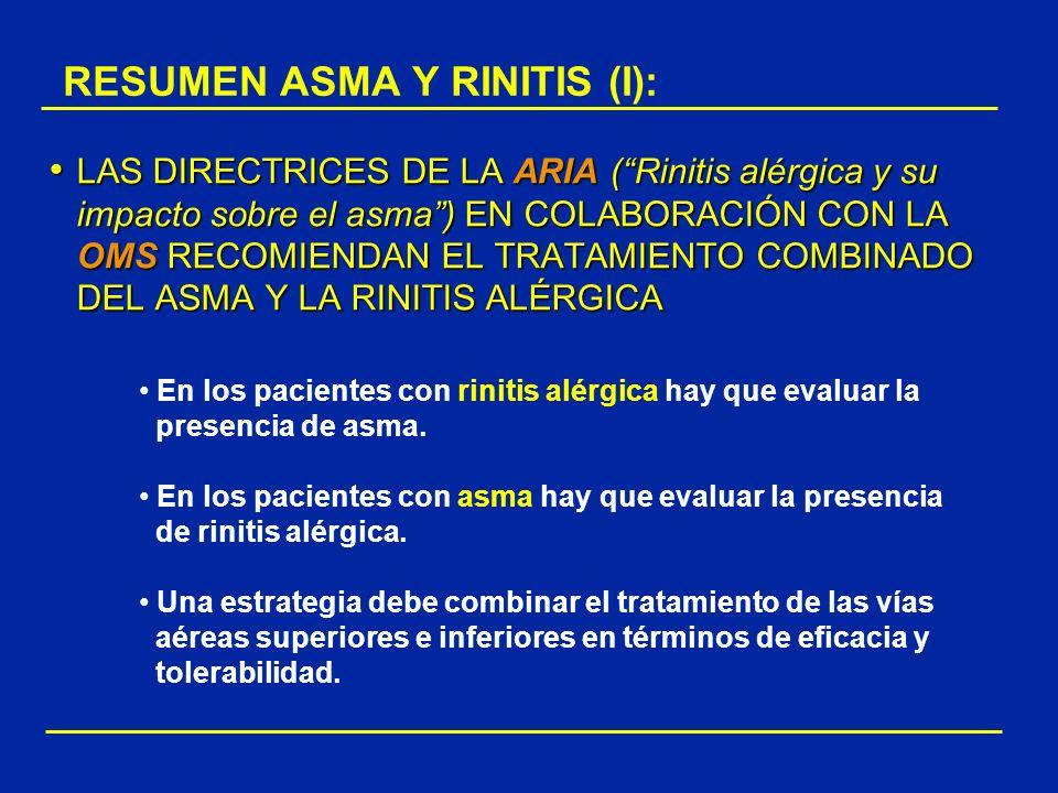 RESUMEN ASMA Y RINITIS (I): LAS DIRECTRICES DE LA ARIA (Rinitis alérgica y su impacto sobre el asma) EN COLABORACIÓN CON LA OMS RECOMIENDAN EL TRATAMI