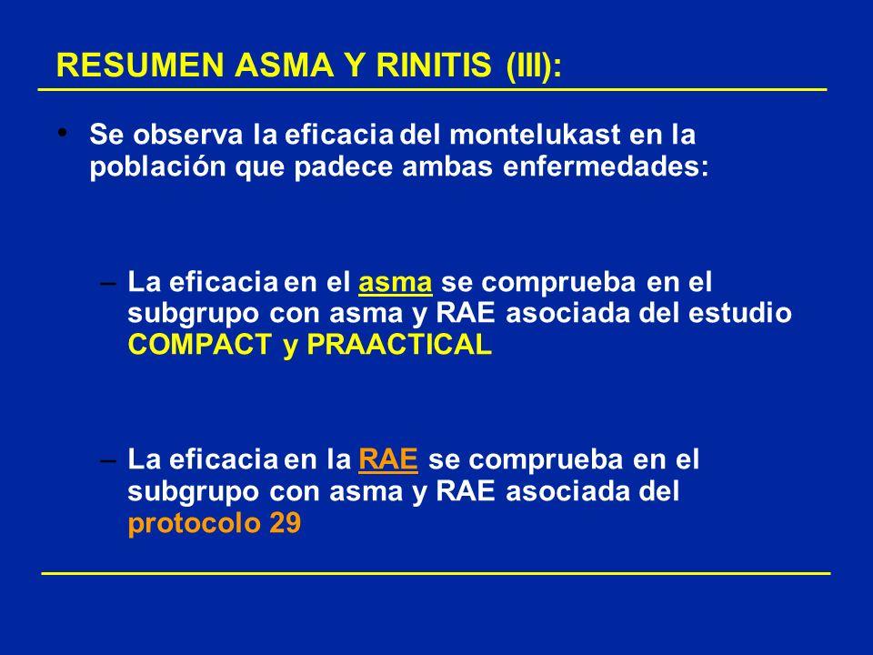 Se observa la eficacia del montelukast en la población que padece ambas enfermedades: –La eficacia en el asma se comprueba en el subgrupo con asma y R