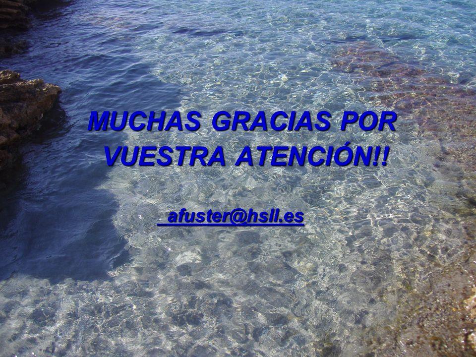 MUCHAS GRACIAS POR MUCHAS GRACIAS POR VUESTRA ATENCIÓN!! VUESTRA ATENCIÓN!! afuster@hsll.es afuster@hsll.es