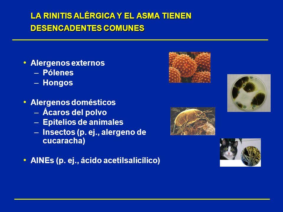 Alergenos externos –Pólenes –Hongos Alergenos domésticos –Ácaros del polvo –Epitelios de animales –Insectos (p. ej., alergeno de cucaracha) AINEs (p.