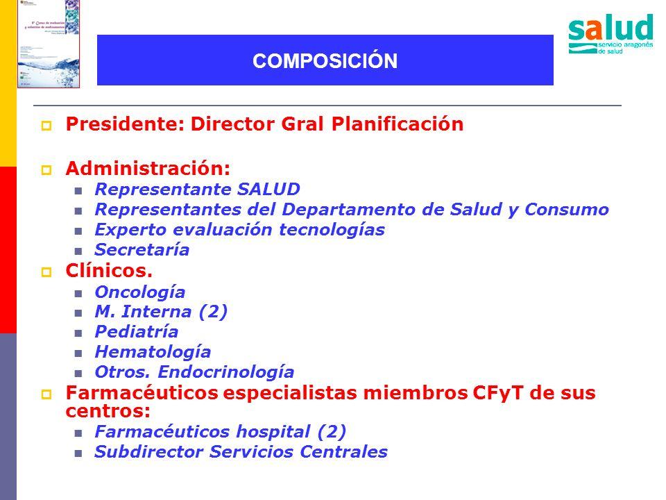 Presidente: Director Gral Planificación Administración: Representante SALUD Representantes del Departamento de Salud y Consumo Experto evaluación tecn