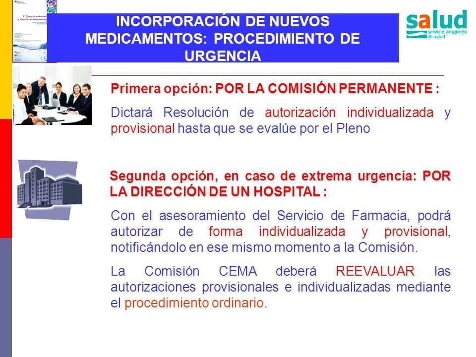 INCORPORACIÓN DE NUEVOS MEDICAMENTOS: PROCEDIMIENTO DE URGENCIA Primera opción: POR LA COMISIÓN PERMANENTE : Dictará Resolución de autorización indivi