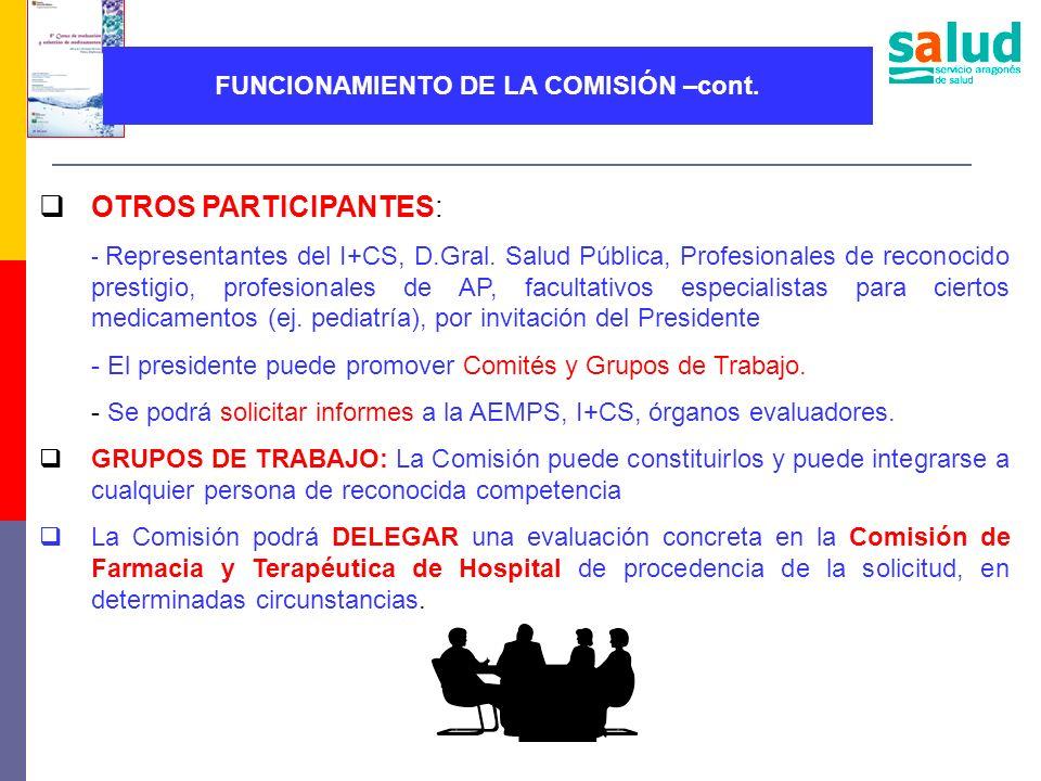 FUNCIONAMIENTO DE LA COMISIÓN –cont. OTROS PARTICIPANTES: - Representantes del I+CS, D.Gral. Salud Pública, Profesionales de reconocido prestigio, pro