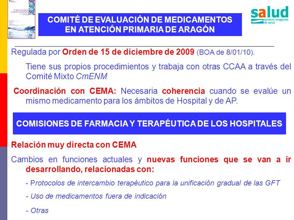 Regulada por Orden de 15 de diciembre de 2009 (BOA de 8/01/10). Tiene sus propios procedimientos y trabaja con otras CCAA a través del Comité Mixto Cm