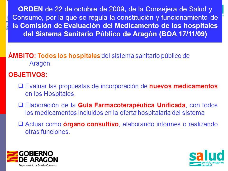 ORDEN de 22 de octubre de 2009, de la Consejera de Salud y Consumo, por la que se regula la constitución y funcionamiento de la Comisión de Evaluación
