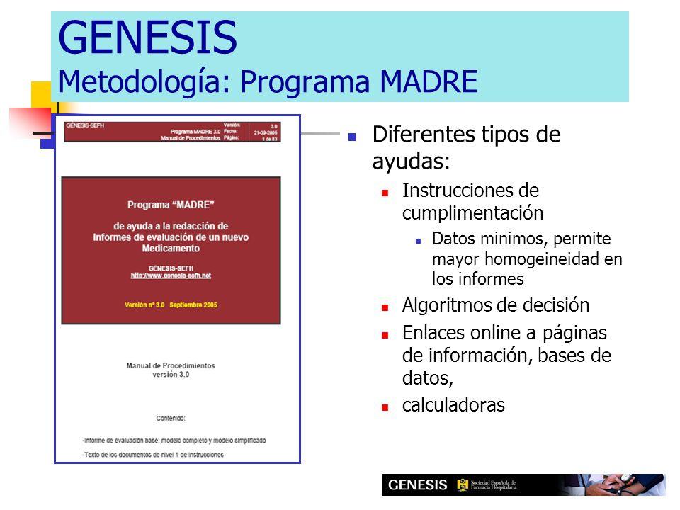 GENESIS Metodología: Programa MADRE Diferentes tipos de ayudas: Instrucciones de cumplimentación Datos minimos, permite mayor homogeineidad en los inf