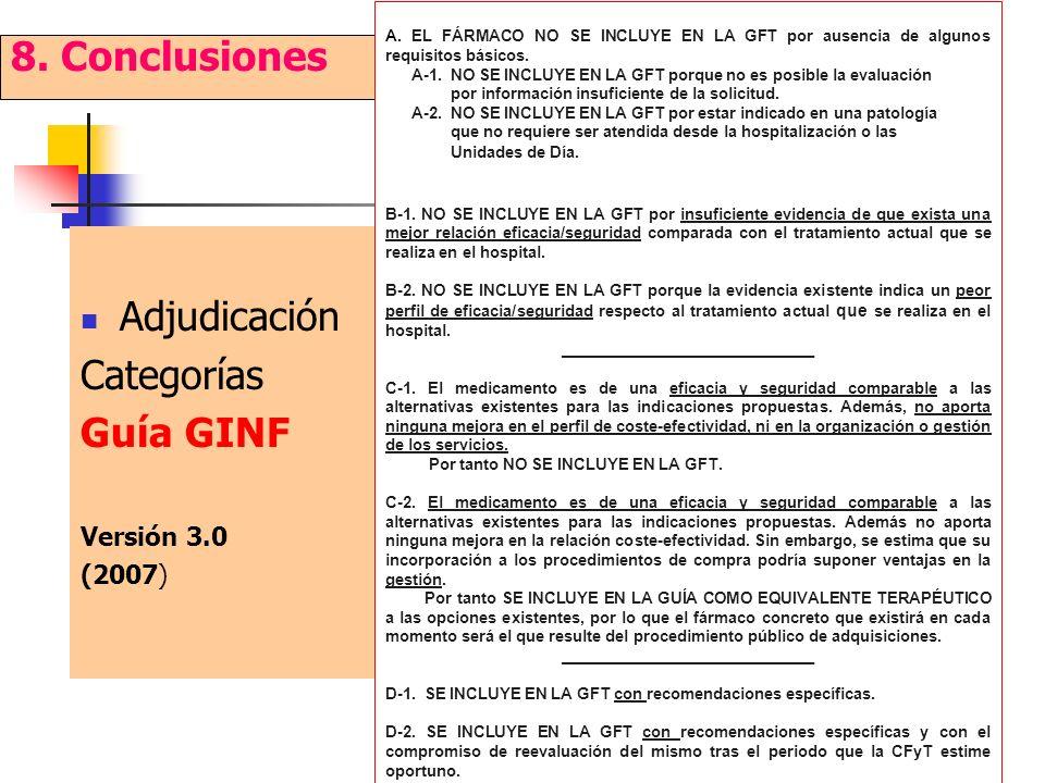 Adjudicación Categorías Guía GINF Versión 3.0 (2007) 8. Conclusiones A. EL FÁRMACO NO SE INCLUYE EN LA GFT por ausencia de algunos requisitos básicos.