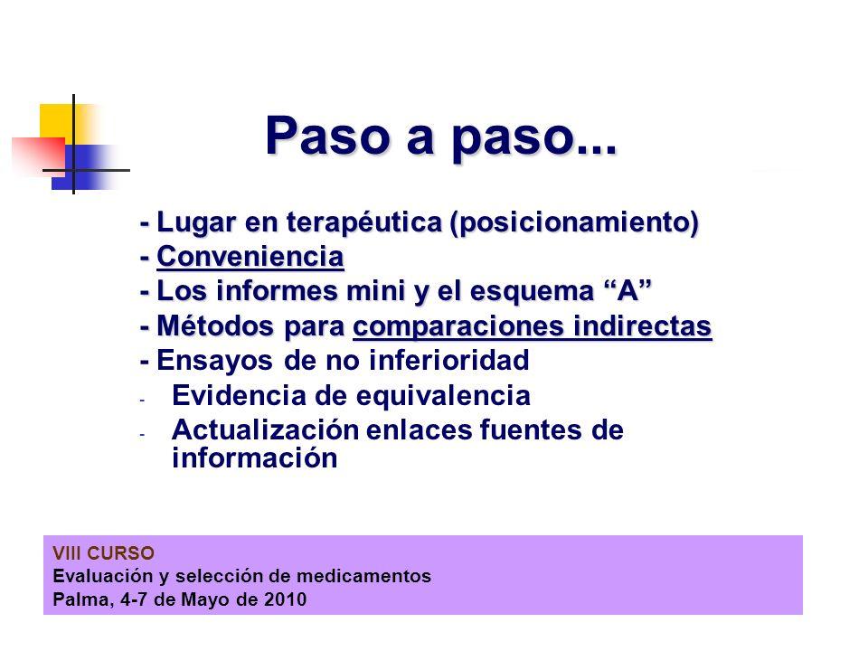 VIII CURSO Evaluación y selección de medicamentos Palma, 4-7 de Mayo de 2010 Paso a paso... - Lugar en terapéutica (posicionamiento) - Conveniencia -