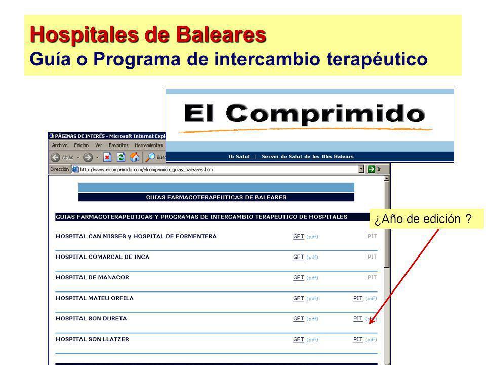 Hospitales de Baleares Hospitales de Baleares Guía o Programa de intercambio terapéutico ¿Año de edición ?