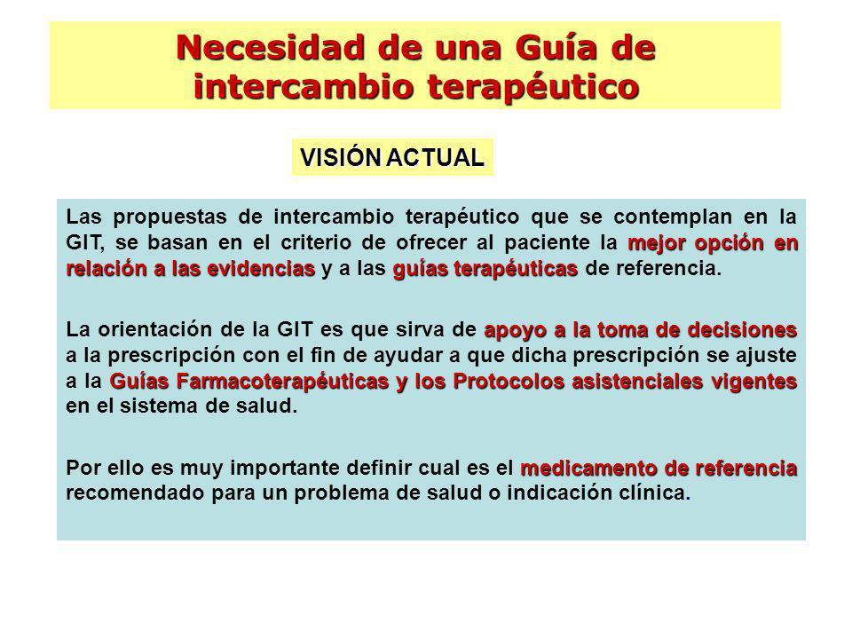 mejor opción en relación a las evidenciasguías terapéuticas Las propuestas de intercambio terapéutico que se contemplan en la GIT, se basan en el crit