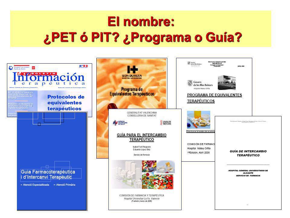El nombre: ¿PET ó PIT? ¿Programa o Guía?