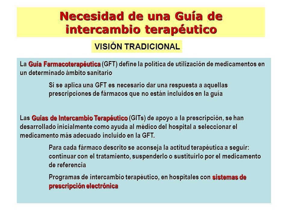 La Guía Farmacoterapéutica (GFT) define la política de utilización de medicamentos en un determinado ámbito sanitario Si se aplica una GFT es necesari