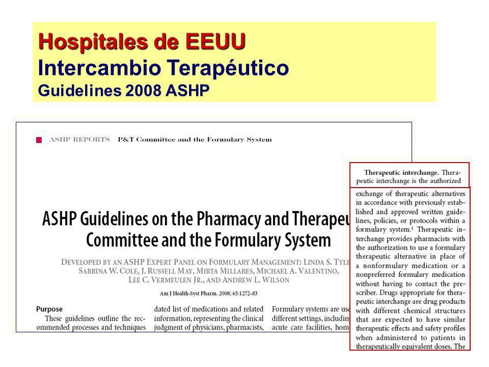 Hospitales de EEUU Hospitales de EEUU Intercambio Terapéutico Guidelines 2008 ASHP