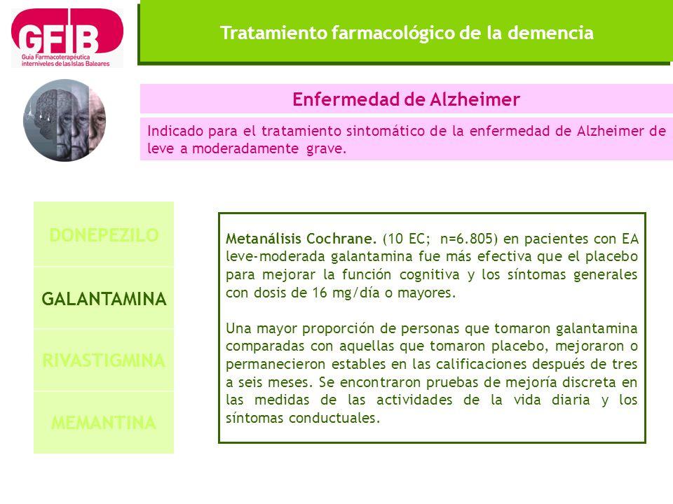 Tratamiento farmacológico de la demencia DONEPEZILO GALANTAMINA RIVASTIGMINA MEMANTINA Enfermedad de Alzheimer Indicado para el tratamiento sintomátic