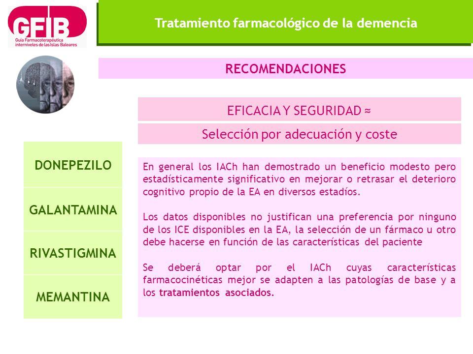 Tratamiento farmacológico de la demencia DONEPEZILO GALANTAMINA RIVASTIGMINA MEMANTINA En general los IACh han demostrado un beneficio modesto pero es