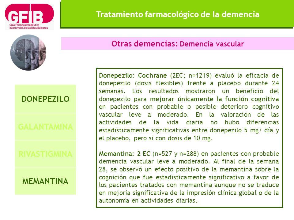 Tratamiento farmacológico de la demencia DONEPEZILO GALANTAMINA RIVASTIGMINA MEMANTINA Otras demencias: Demencia vascular Donepezilo: Cochrane (2EC; n