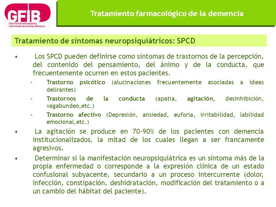 Tratamiento farmacológico de la demencia Los SPCD pueden definirse como síntomas de trastornos de la percepción, del contenido del pensamiento, del án