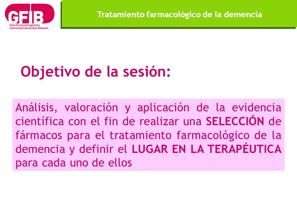 Objetivo de la sesión: Análisis, valoración y aplicación de la evidencia científica con el fin de realizar una SELECCIÓN de fármacos para el tratamien