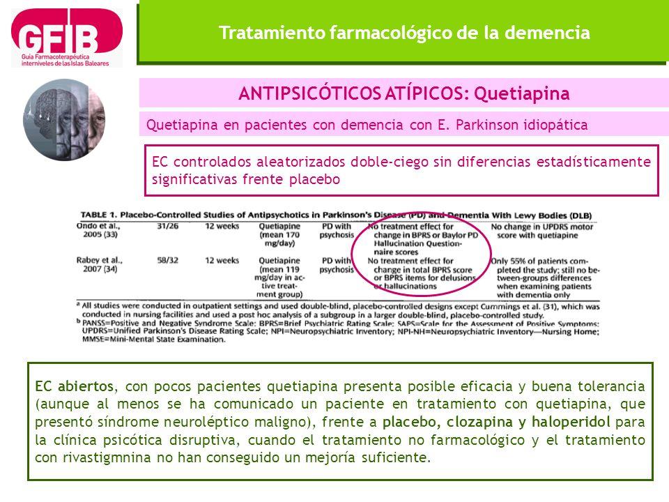 Tratamiento farmacológico de la demencia ANTIPSICÓTICOS ATÍPICOS: Quetiapina Quetiapina en pacientes con demencia con E. Parkinson idiopática EC abier