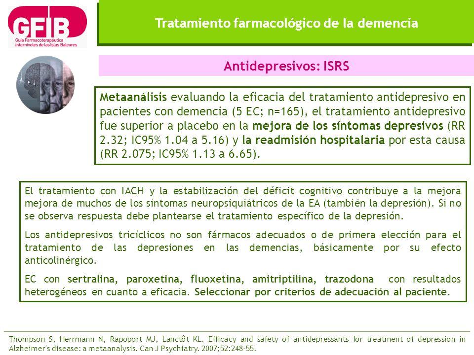 Tratamiento farmacológico de la demencia Antidepresivos: ISRS Metaanálisis evaluando la eficacia del tratamiento antidepresivo en pacientes con demenc
