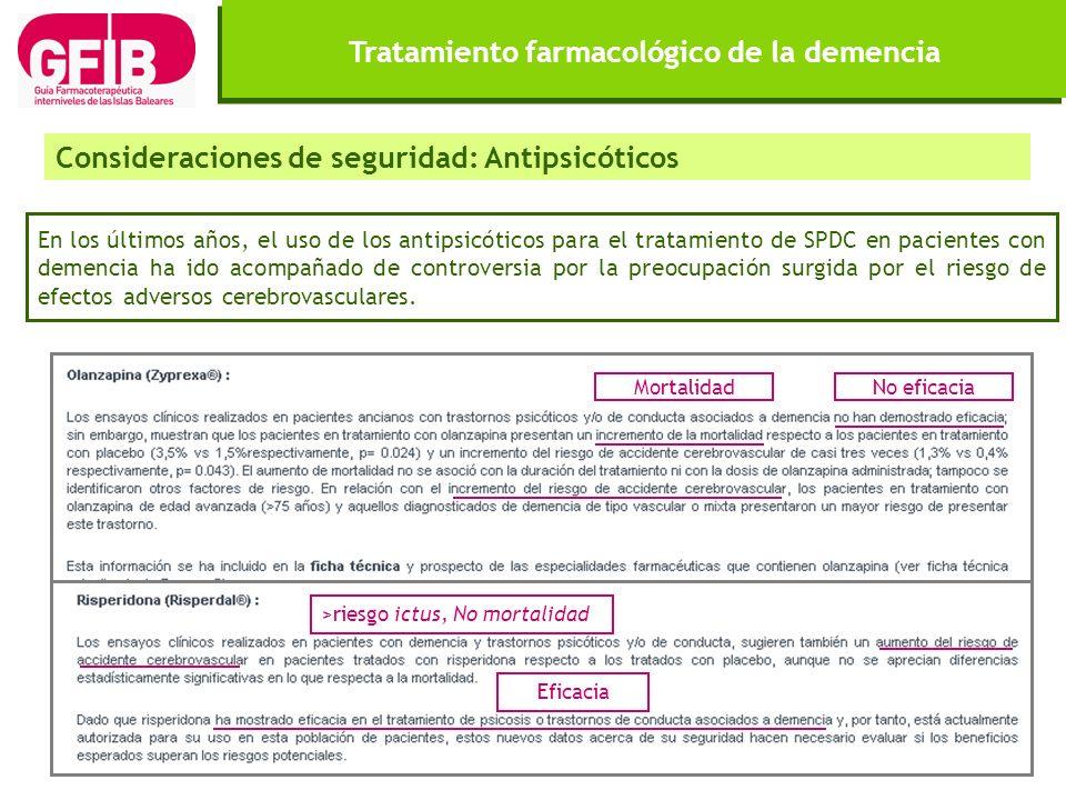 Tratamiento farmacológico de la demencia Consideraciones de seguridad: Antipsicóticos En los últimos años, el uso de los antipsicóticos para el tratam