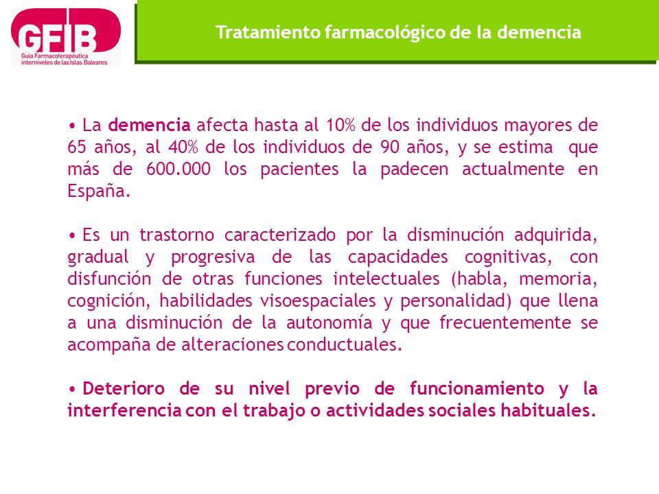 La demencia afecta hasta al 10% de los individuos mayores de 65 años, al 40% de los individuos de 90 años, y se estima que más de 600.000 los paciente