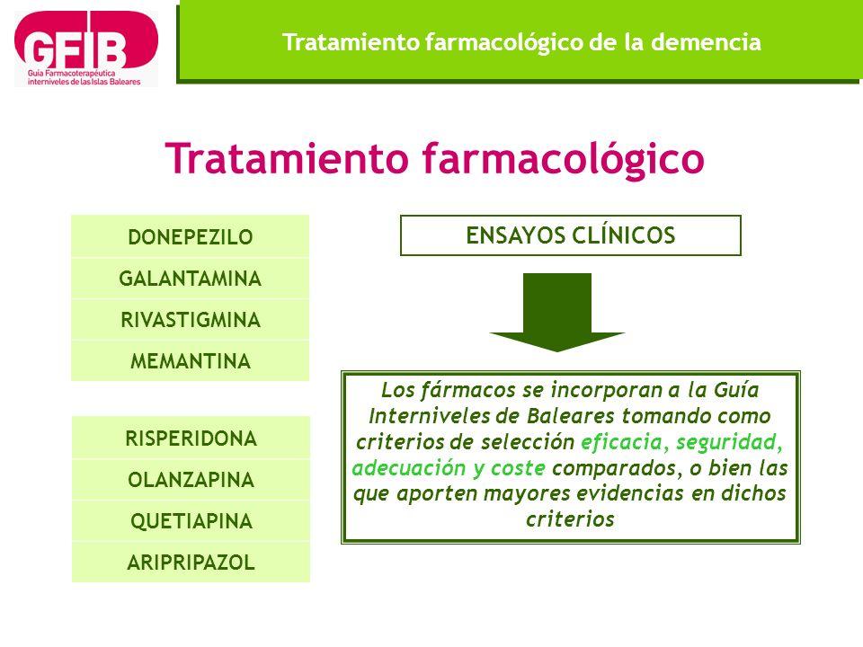 Tratamiento farmacológico DONEPEZILO GALANTAMINA RIVASTIGMINA MEMANTINA Los fármacos se incorporan a la Guía Interniveles de Baleares tomando como cri